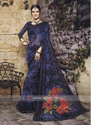Beautiful Floral Print Dark Blue Saree
