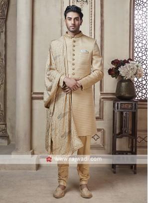 Beautiful Golden Sherwani With Dupatta