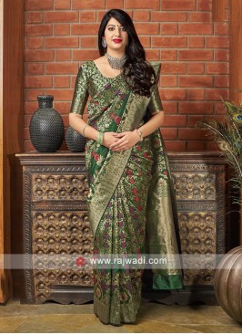 Beautiful Green Banarasi Silk Saree