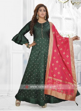 Beautiful Green Color Anarkali Suit with dupatta