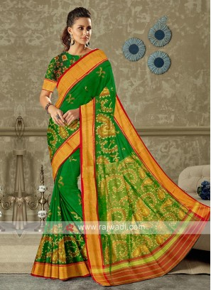 beautiful green color pure silk saree