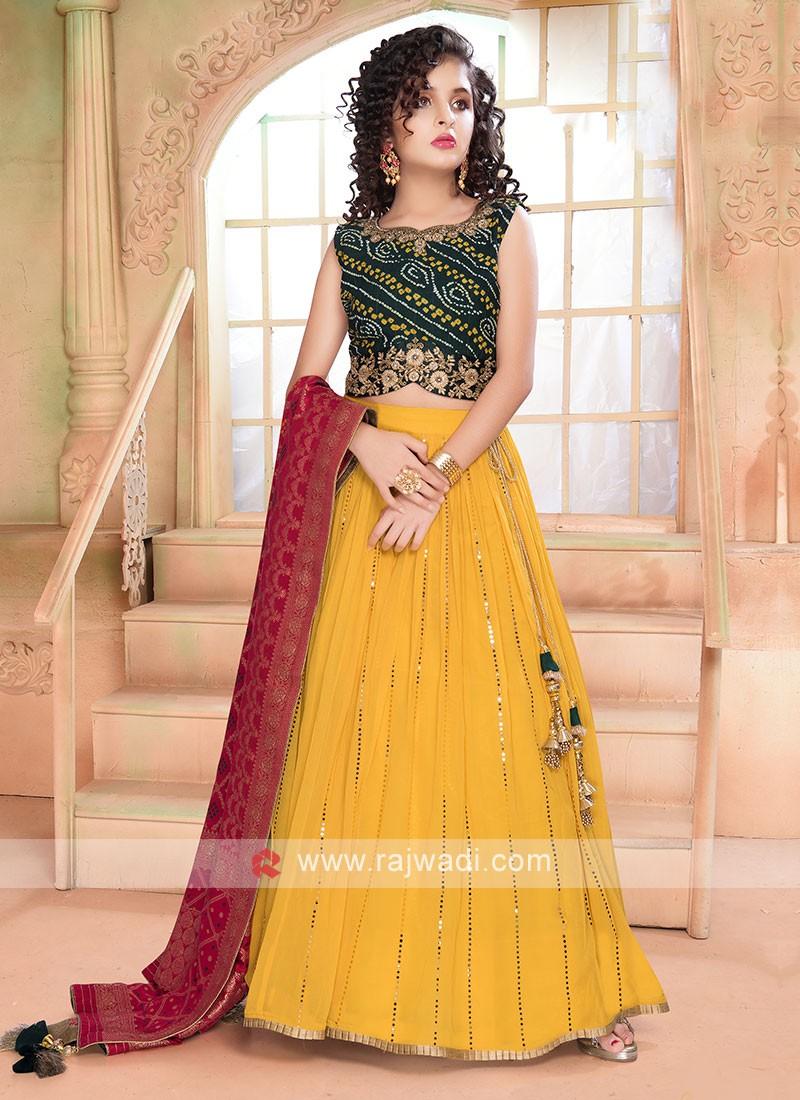 Beautiful Green & Yellow Color Lehenga Choli