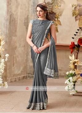 beautiful grey color saree
