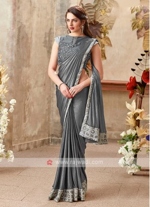 beautiful grey color saree
