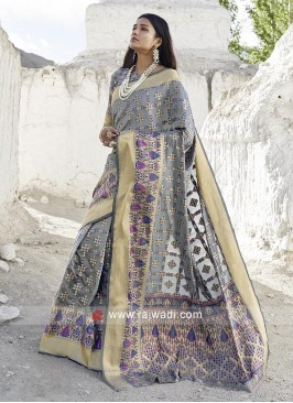 Beautiful Grey Zari Woven Saree