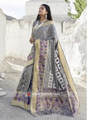 Beautiful Grey Zari Woven Saree