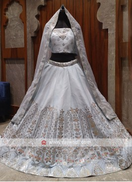 beautiful ivory color bridal lehenga choli
