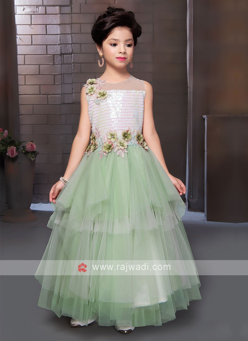 Beautiful Light Green Color Gown For Girls