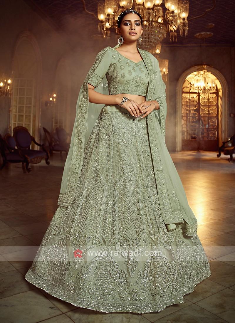 Beautiful Light Green Net Lehenga Choli