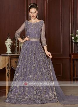 beautiful lilac color net salwar suit