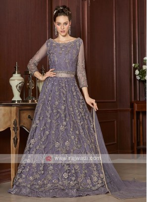 beautiful lilac color net salwar suit