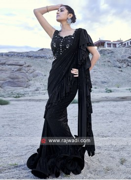Beautiful Look Black Ruffle Saree for Parties