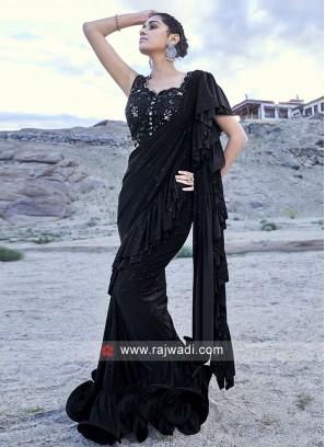Beautiful Look Black Ruffle Saree for Parties