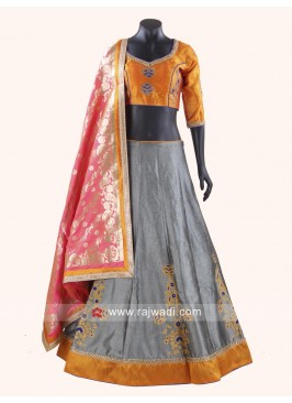 Beautiful Mango and Grey Coloured Chaniya Choli