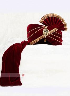 Beautiful Maroon Color Turban For Wedding
