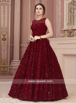 Beautiful Maroon Net Gown