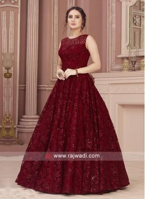 Beautiful Maroon Net Gown
