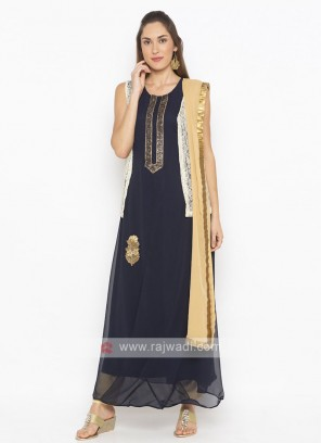 Beautiful navy blue indo-western suit