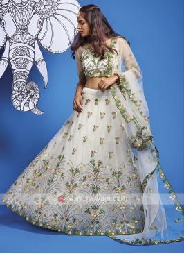 Beautiful Net Lehenga Choli In White