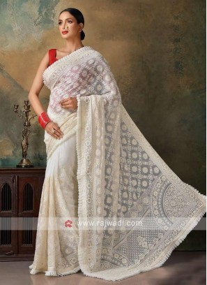 beautiful off white color chikankari saree