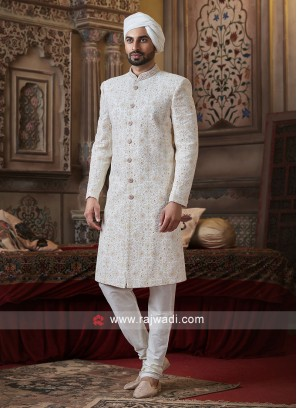 Beautiful Off White Color Sherwani