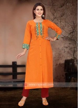 Beautiful Orange And Red Kurta Set