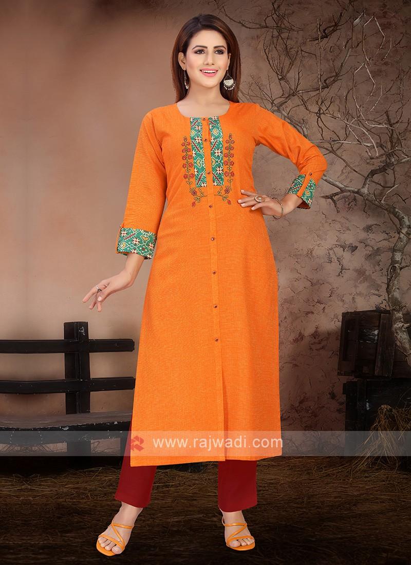 Beautiful Orange And Red Kurta Set