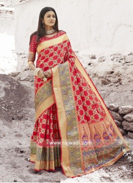 Beautiful Orange Silk Saree