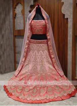 beautiful peach bridal lehenga choli