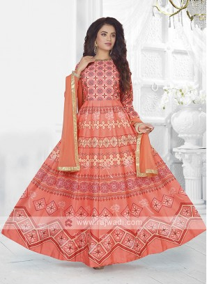 Beautiful Peach Color Anarkali Suit with dupatta