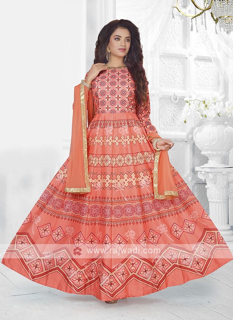 Beautiful Peach Color Anarkali Suit with dupatta