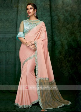 beautiful peach color art silk saree