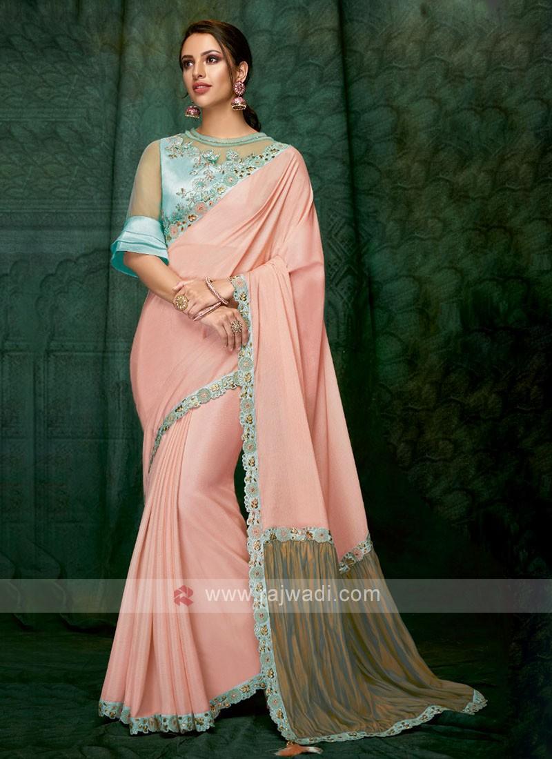 beautiful peach color art silk saree