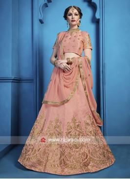 Beautiful Peach Zari Work Lehenga Choli