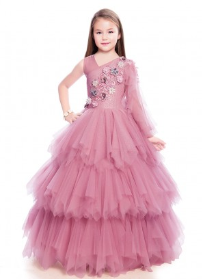 Beautiful Pink Color Layered Gown