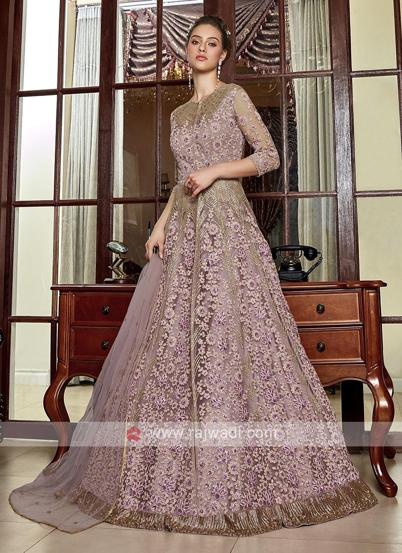 beautiful pink color net salwar suit