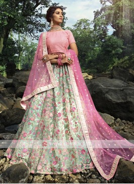 Beautiful Pink & Pista Green Lehenga Choli