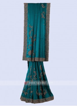 Beautiful Rama Blue Color Saree
