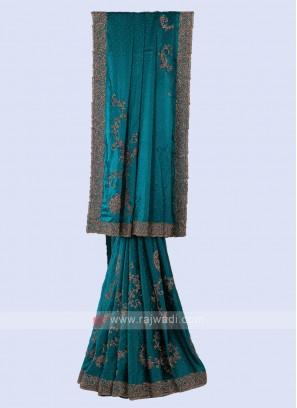Beautiful Rama Blue Color Saree