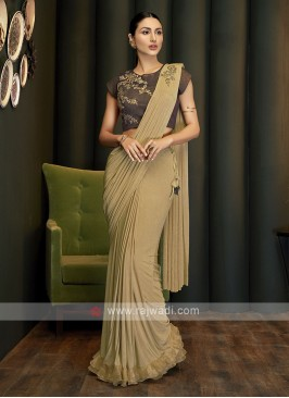 Beige ready pleated saree