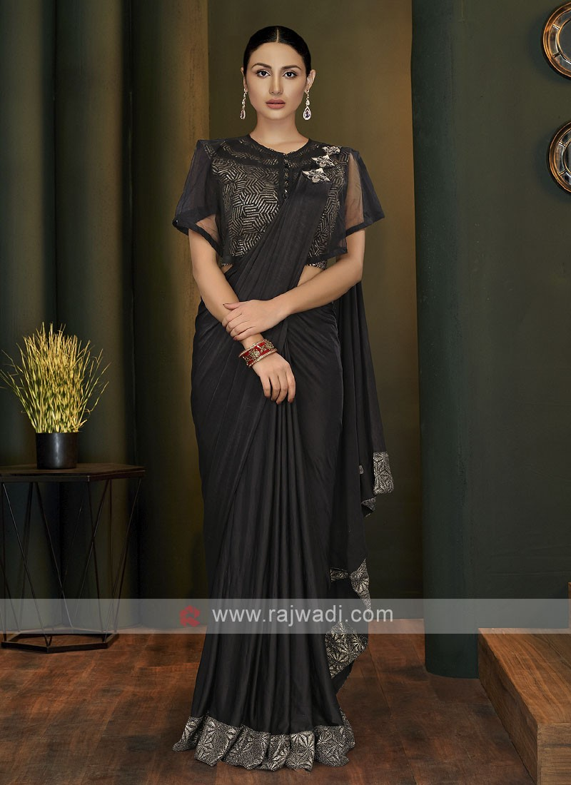 Black ready pleated saree