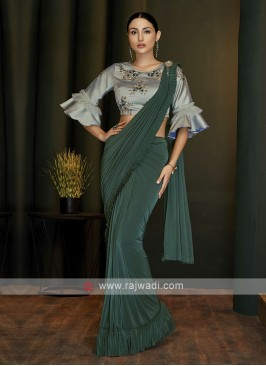 Green lycra ready pleated saree