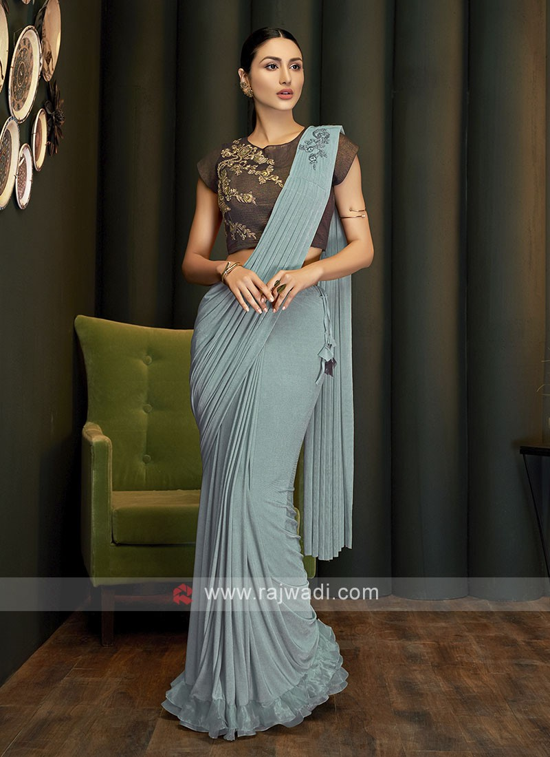 Green party wear ready pleated saree