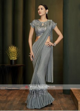 Grey lycra ready pleated saree