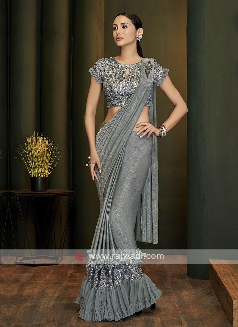 Grey lycra ready pleated saree