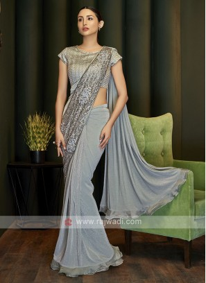 Lycra ready pleated grey saree