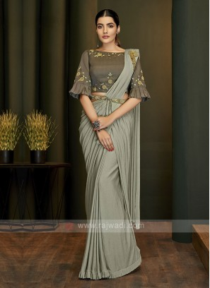 Stylish Grey ready pleated saree