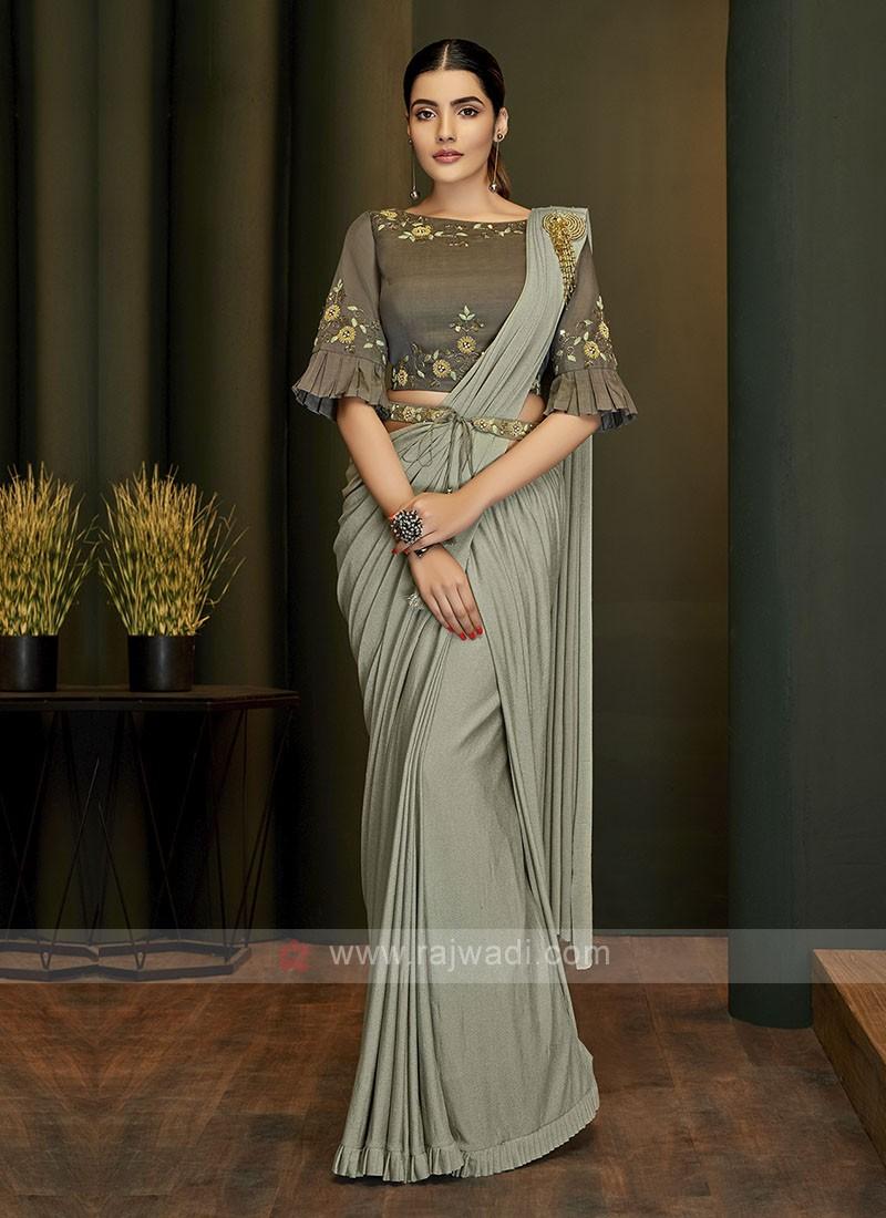 Stylish Grey ready pleated saree