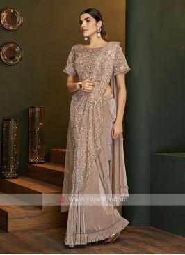 Party wear light brown saree