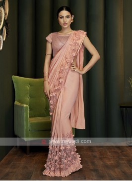 peach ready pleated party wear saree